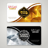Gift Cards with Polygonal Pattern and Curve Border