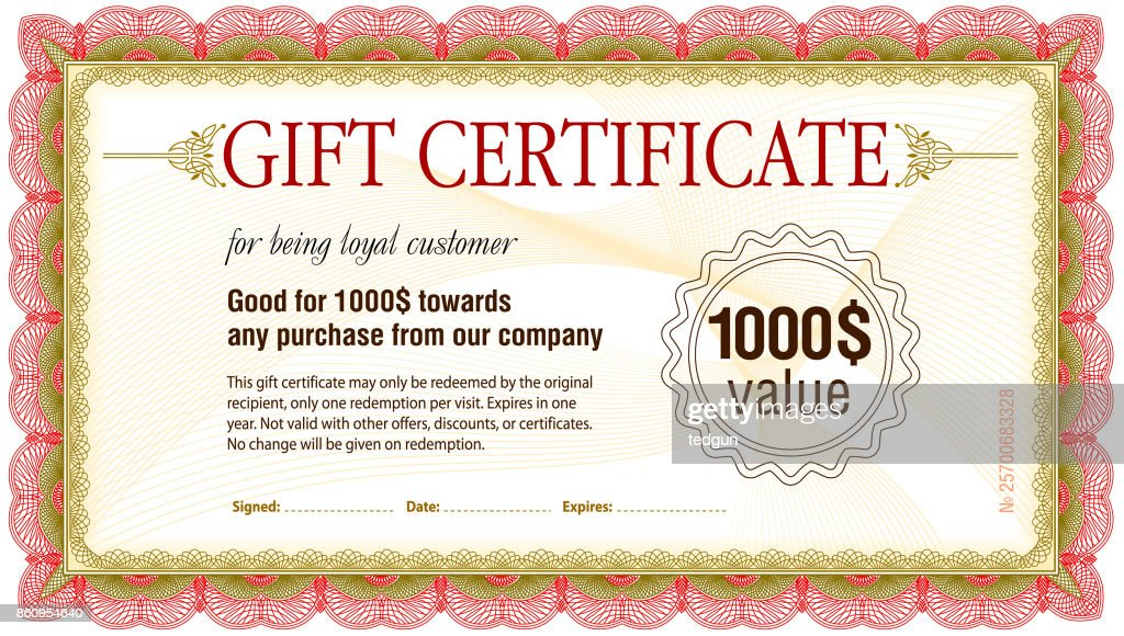 Gift Certificate Blank Template Vector Art Getty Images