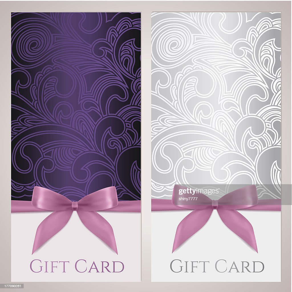 Gift Certificate Card Voucher Coupon Template With Floral Pattern