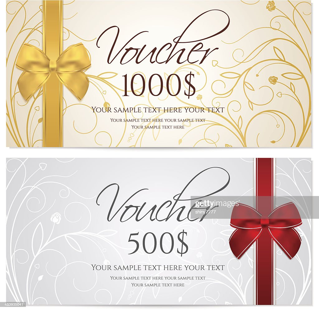 Gift certificate (Voucher / coupon) floral, scroll pattern (money, currency, check)