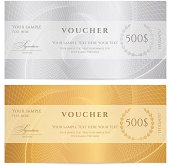 Gift certificate (voucher / coupon) guilloche pattern (banknote, money, currency, check)
