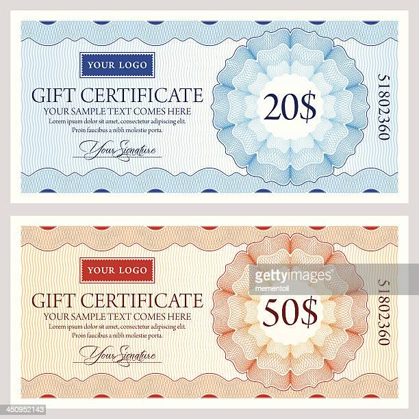 gift certificate template in two colors - cheque stock illustrations, clip art, cartoons, & icons