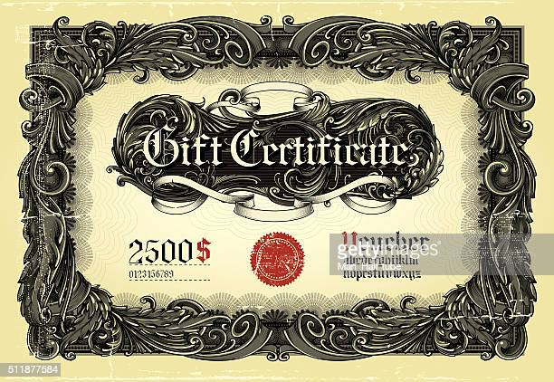 gift certificate (card)template. - vintage stock stock illustrations