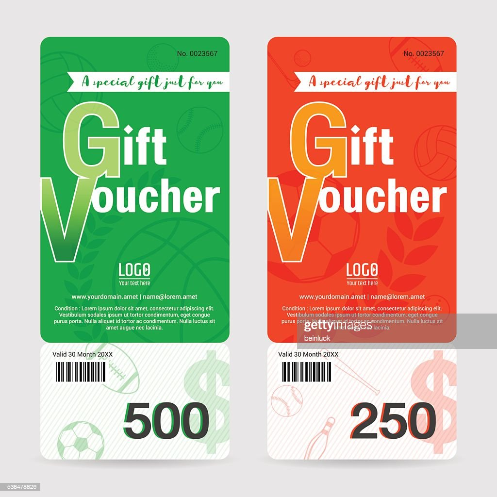 Gift certificate, voucher or card template in sport theme