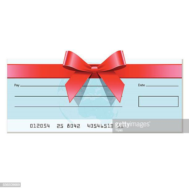 gift cheque - cheque stock illustrations, clip art, cartoons, & icons