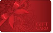 Gift coupon, discount card, ticket. Filigree pattern (scroll) red bow