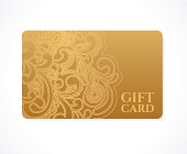 Gift coupon, discount card, ticket. Gold floral (scroll) pattern frame