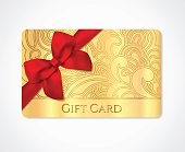 Gift coupon, gift card (discount, business card) with floral (scroll, swirl) gold swirl pattern (tracery), bow (ribbon)
