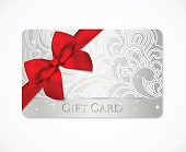 Gift coupon, gift card (discount, business card) with floral (scroll, swirl) silver swirl pattern (tracery), bow (ribbon)