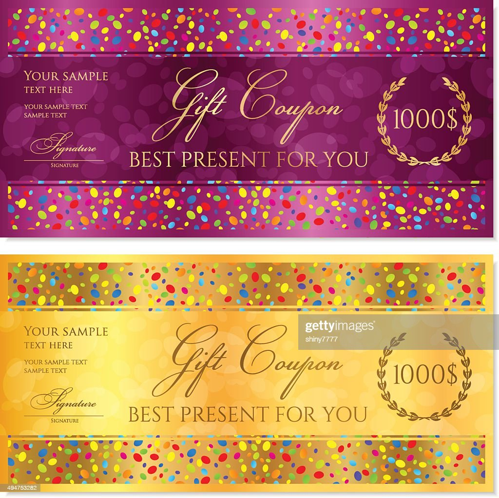 Gift Coupon, Gift certificate, Voucher, Reward template with colorful confetti