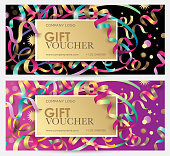 Gift coupon with colorful ribbons, serpentine and glitter.