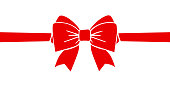 Gift decoration. Beautiful red ribbon sign - vector