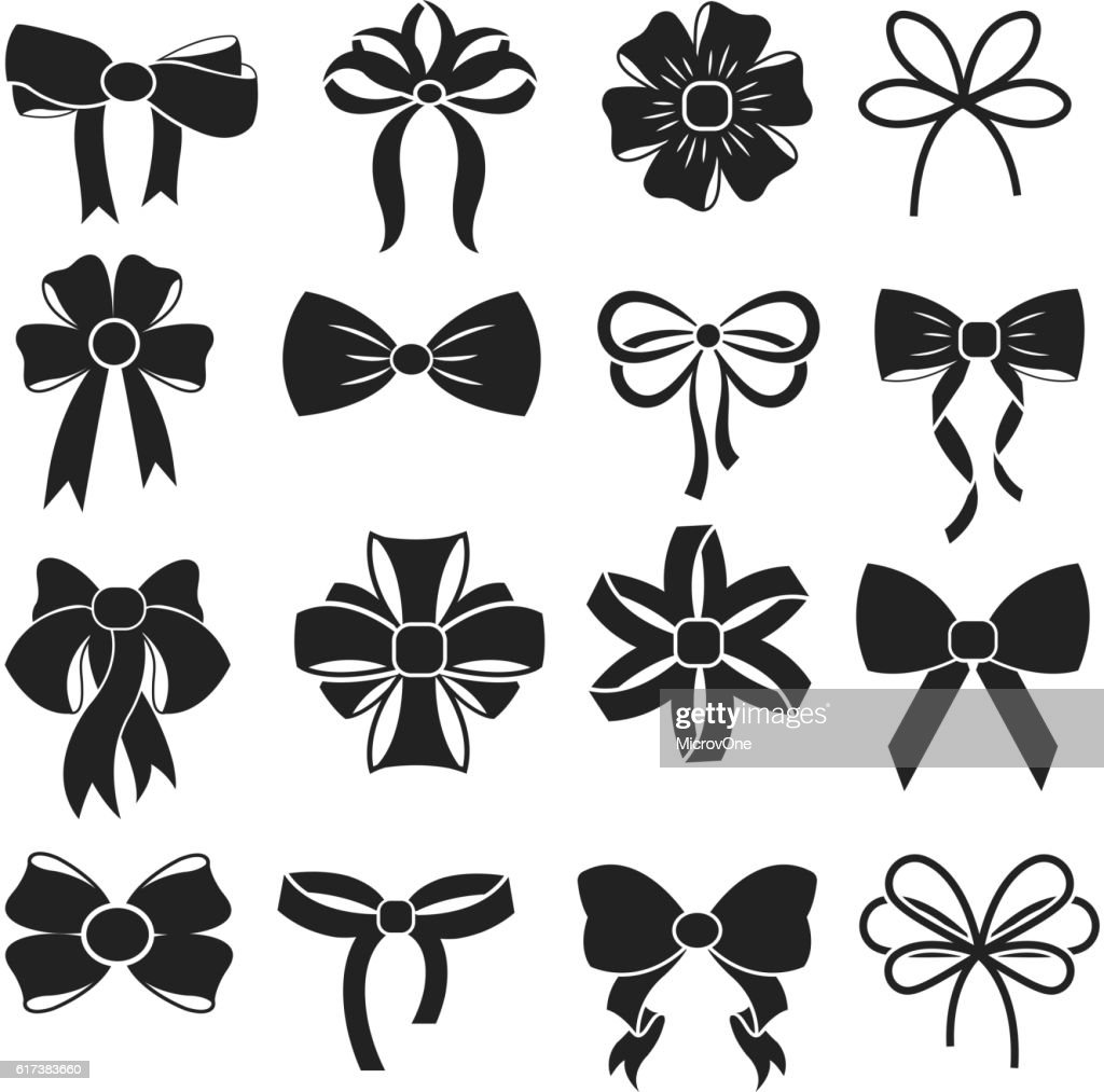 Gift decorative ribbon bow vector icons set