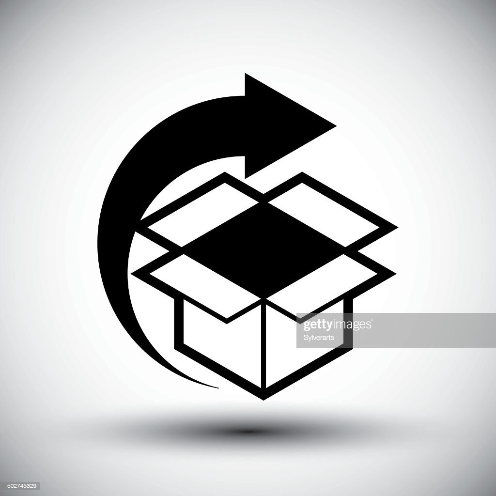 Gift delivery conceptual icon, simple single color element