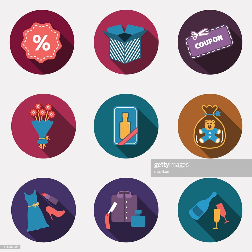 Gift flat circle colorful shop icons with shadow : Vector Art