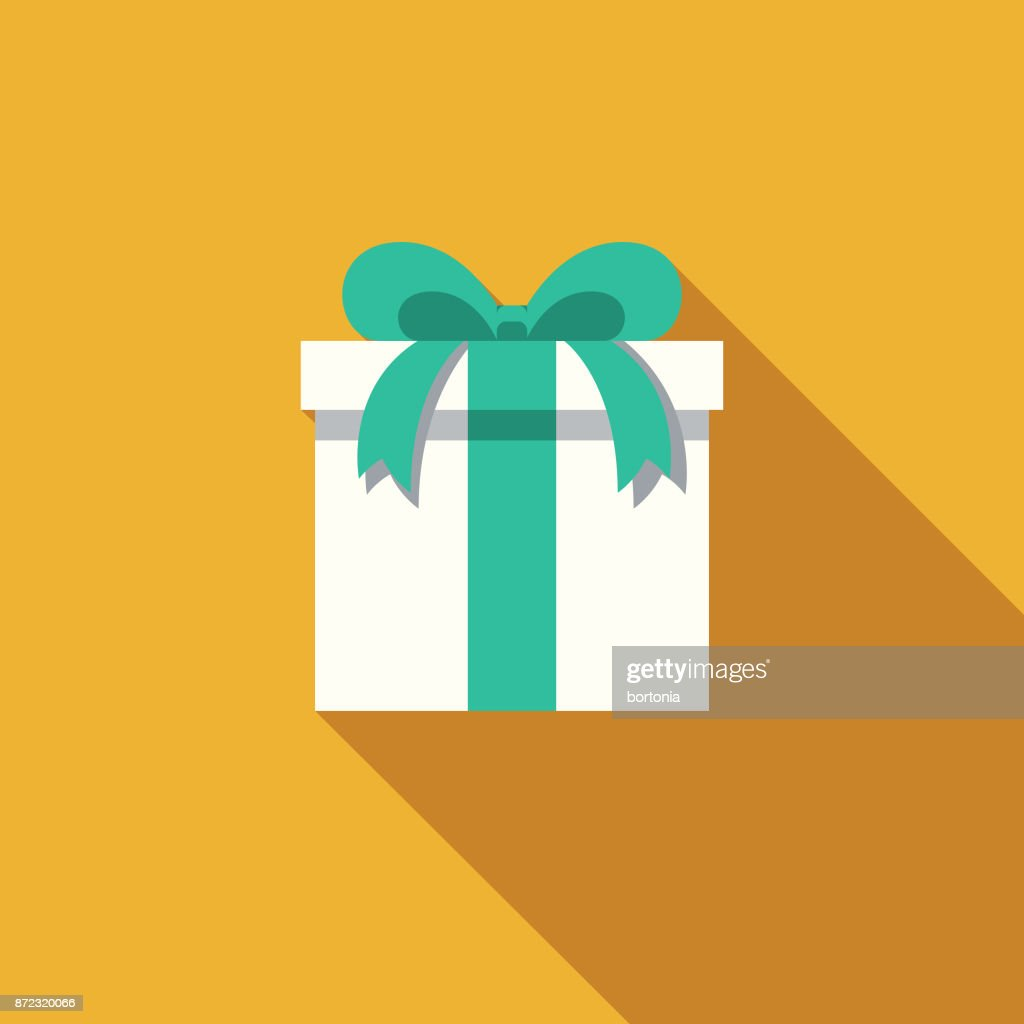 Gift Flat Design Party Icon with Side Shadow