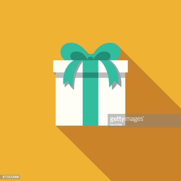 illustrations, cliparts, dessins animés et icônes de cadeau design plat icône party avec côté ombre - cadeau