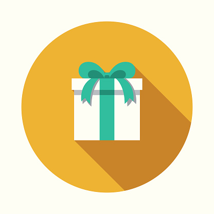 Gift Flat Design Party Icon with Side Shadow - gettyimageskorea