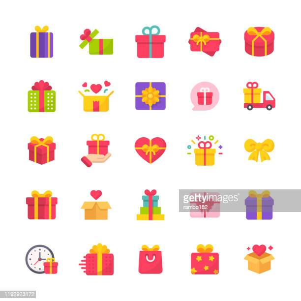 gift flat icons. material design icons. pixel perfect. for mobile and web. contains such icons as gift, present, birthday, love, friendship, celebration, ribbon, gift box, party. - valentine's day holiday stock illustrations