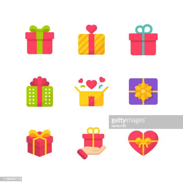gift flat icons. pixel perfect. for mobile and web. contains such icons as gift, present, birthday, love, friendship, celebration, ribbon, gift box, party. - gift box stock illustrations