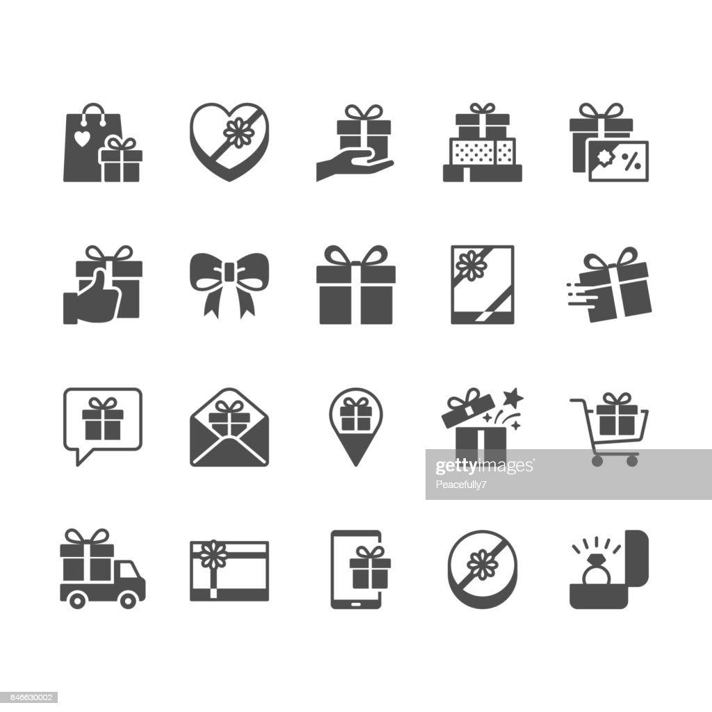 Gift flat icons.