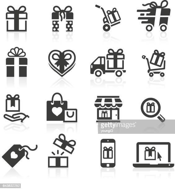 ilustraciones, imágenes clip art, dibujos animados e iconos de stock de regalos y compras los iconos - cajaderegalo