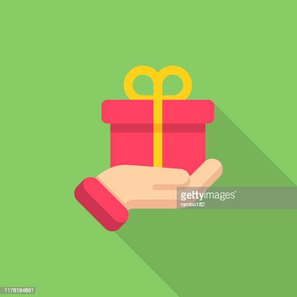 illustrations, cliparts, dessins animés et icônes de don de cadeaux, icône plate de charité. pixel parfait. pour mobile et web. - donner