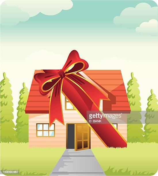 gift house - new home stock illustrations, clip art, cartoons, & icons