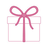 Gift icon in flat style isolated on white background.