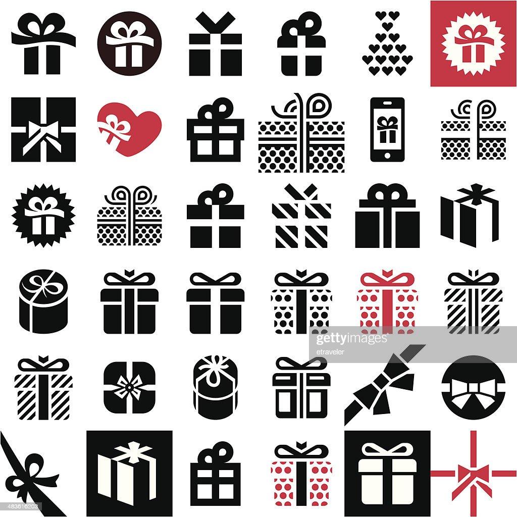 Gift icon set. Gift box.