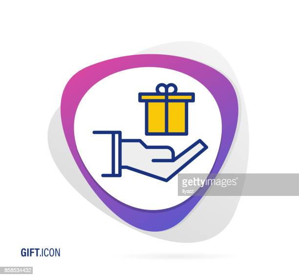 gift icon - receiving stock illustrations, clip art, cartoons, & icons