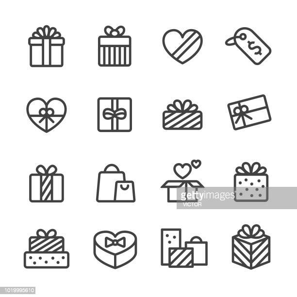 gift icons - line series - opening stock illustrations