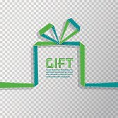 Gift in the style of origami ribbon on transparent background, vector