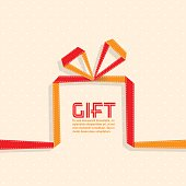 Gift in the style of origami ribbon, vector