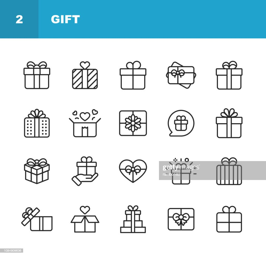 Gift Line Icons. Editable Stroke. Pixel Perfect. For Mobile and Web. Contains such icons as Gift Box, Christmas Present, Birthday Present, Valentine Present, Giving. : stock illustration