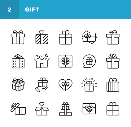 Gift Line Icons. Editable Stroke. Pixel Perfect. For Mobile and Web. Contains such icons as Gift Box, Christmas Present, Birthday Present, Valentine Present, Giving. - gettyimageskorea