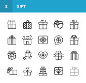 Gift Line Icons. Editable Stroke. Pixel Perfect. For Mobile and Web. Contains such icons as Gift Box, Christmas Present, Birthday Present, Valentine Present, Giving.