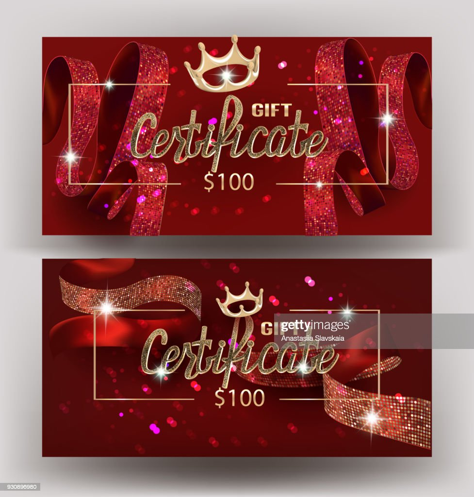 Gift red certificate with beautiful curly ribbon amd golden design elements. Vector illustration