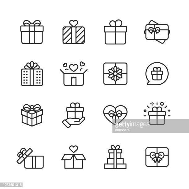 ギフト関連するアイコン。ギフト ボックス、クリスマス プレゼント、誕生日プレゼント、ギフト カードなどのアイコンが含まれています。モバイルと web. - 誕生日の贈り物点のイラスト素材/クリップアート素材/マンガ素材/アイコン素材