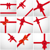 Gift Ribbon red Bow collection set.