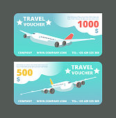 Gift travel voucher, travelling promo card. Ticket with flying airplane in the sky vector set