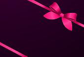 decorative pink bow pink ribbons dark