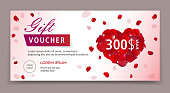Gift voucher, certificate or coupon template for valentines or womans day. Eps 10 vector illustration. Background for invitation, shop, beauty salon, spa.