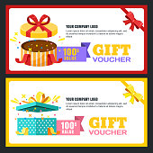 Gift voucher, certificate or coupon vector design layout. Discount banner or holidays greeting card template.