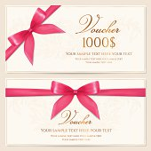 Gift Voucher / coupon / card/ tag / certificate template. Pink bow (ribbons)