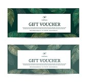 Gift Voucher Leaf, feather peacock template for Spa, Hotel Resort, Vector illustration.