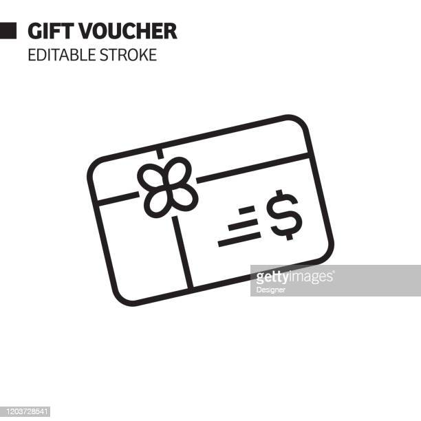 gift voucher line icon, outline vector symbol illustration. pixel perfect, editable stroke. - coupon stock illustrations