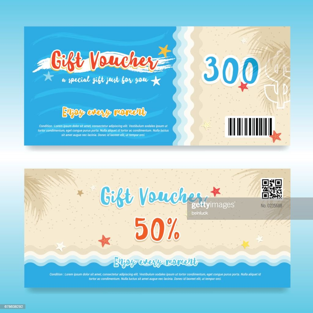 Gift voucher or gift card template in summer beach theme