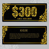 Gift voucher template 300 USD. The inscription created from a floral ornament. Golden Letters on a black background with floral pattern. VIP design.