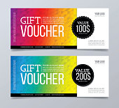 Gift voucher template design and abstract geometric background.